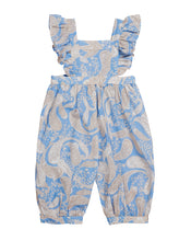 GIRLS OVERALLS IN CORNFLOWER PAISLEY