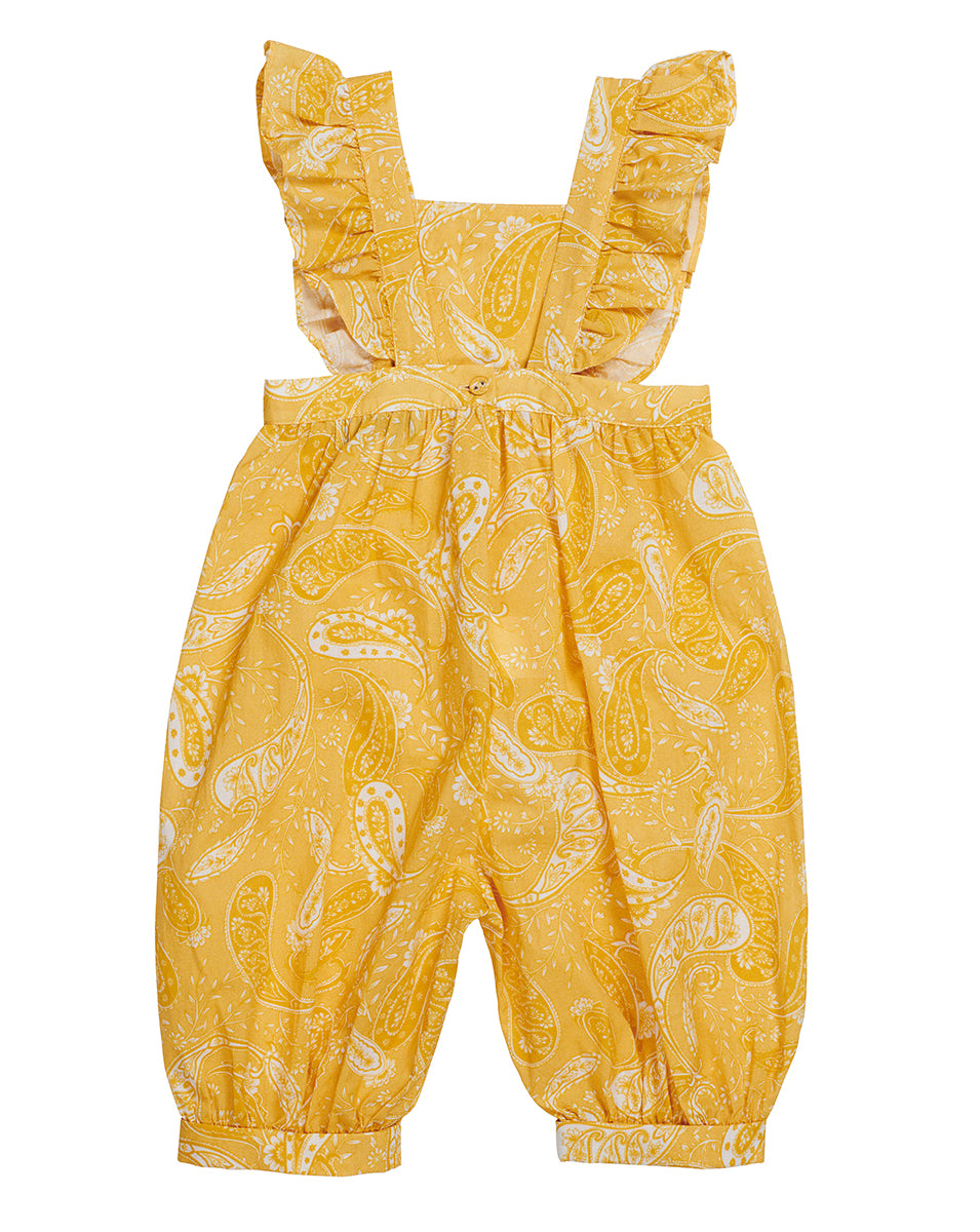 GIRLS OVERALLS IN SUNFLOWER PAISLEY