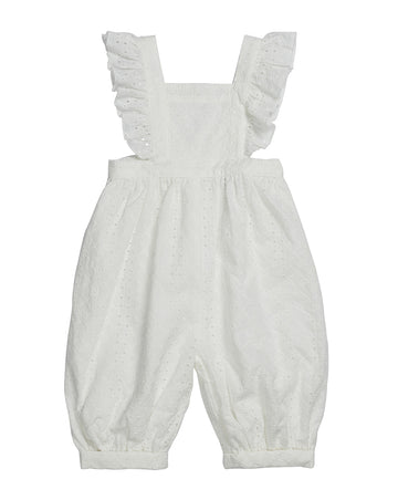GIRLS OVERALLS IN IVORY BRODERIE