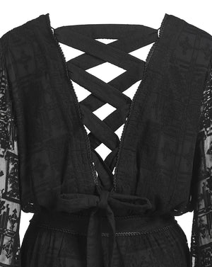CORDELIA CROSS STITCH JUMPSUIT IN BLACK