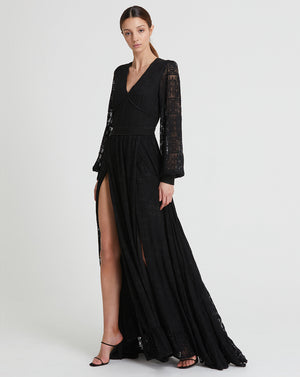 CORDELIA CROSS STITCH MAXI DRESS IN BLACK