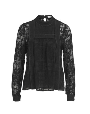 CORDELIA CROSS STITCH BLOUSE IN BLACK