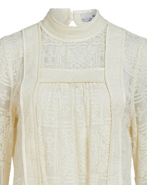 CORDELIA CROSS STITCH BLOUSE IN SHELL