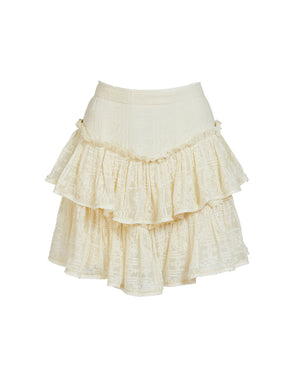 CORDELIA CROSS STITCH MINI SKIRT IN SHELL