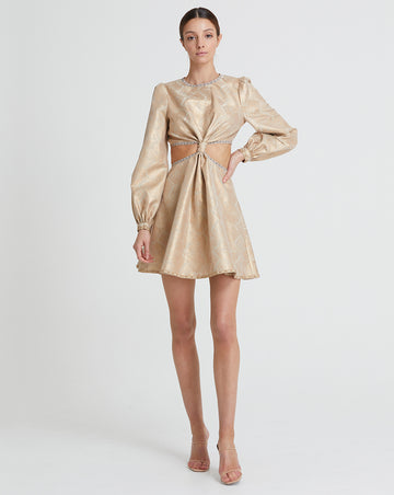 DAPHNE JACQUARD MINI DRESS IN GILDED JACQUARD