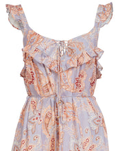 VIVIENNE LINEN SWING MIDI DRESS IN WISTERIA PAISLEY