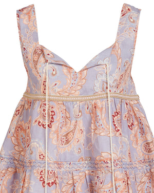 VIVIENNE LINEN CAMI IN WISTERIA PAISLEY