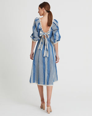 GEORGIA OPEN BACK MIDI DRESS IN INDIGO