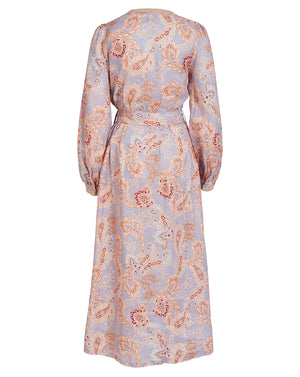 VIVIENNE LINEN MIDI DRESS IN WISTERIA PAISLEY