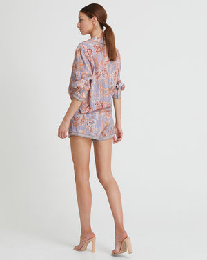 DELILAH LOOSE SHIRT IN WISTERIA PAISLEY