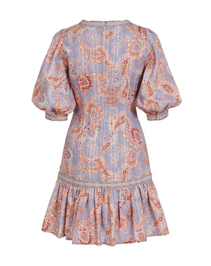 DELILAH MINI DRESS IN WISTERIA PAISLEY