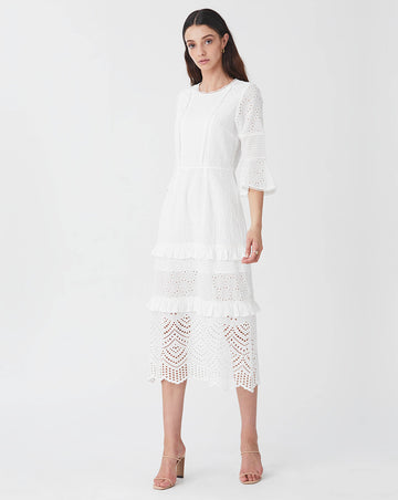 LUA PINTUCK MIDI DRESS IN WHITE