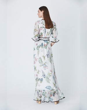 FRANKIE MAXI DRESS IN ECRU DELPHINIUM