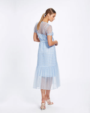 VALENCIA MIDI DRESS IN CORNFLOWER CHECK