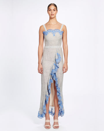 ARGENTINA RUFFLE MAXI DRESS IN BLUE TANGO