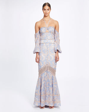 SORRENTO MAXI DRESS IN CORNFLOWER PAISLEY