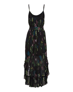 FRANKIE PLEATED DRESS IN BLACK DELPHINIUM