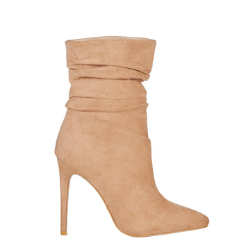 NATOMA BOOTIES IN CARAMEL SUEDE