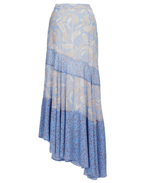 AMALFI ASYMMETRIC SKIRT IN SPLICED CORNFLOWER