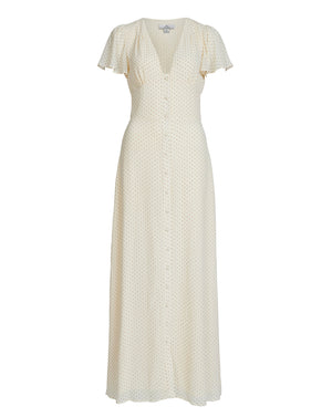 VIRGINIA OPEN BACK MAXI DRESS IN CREAM SPOT
