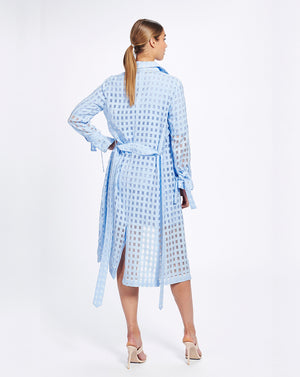 VALENCIA TRENCH IN CORNFLOWER CHECK
