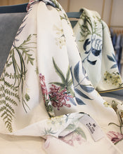 WE ARE KINDRED SCARF, IVORY DELPHINIUM