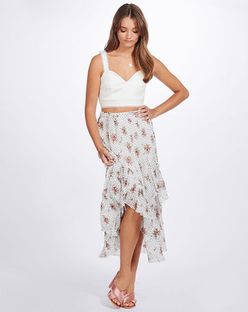 GRACIE ASYMMETRIC SKIRT IN VINTAGE SPOT