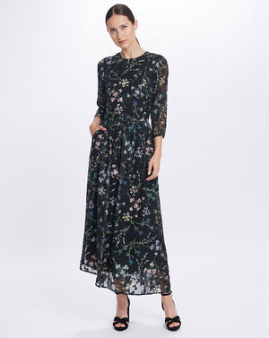 AMBROSIA MAXI DRESS IN BLACK BLOOMS