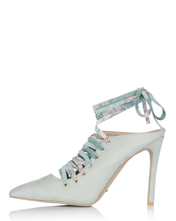Laetitia Lace Up Mules - Dusty Sage