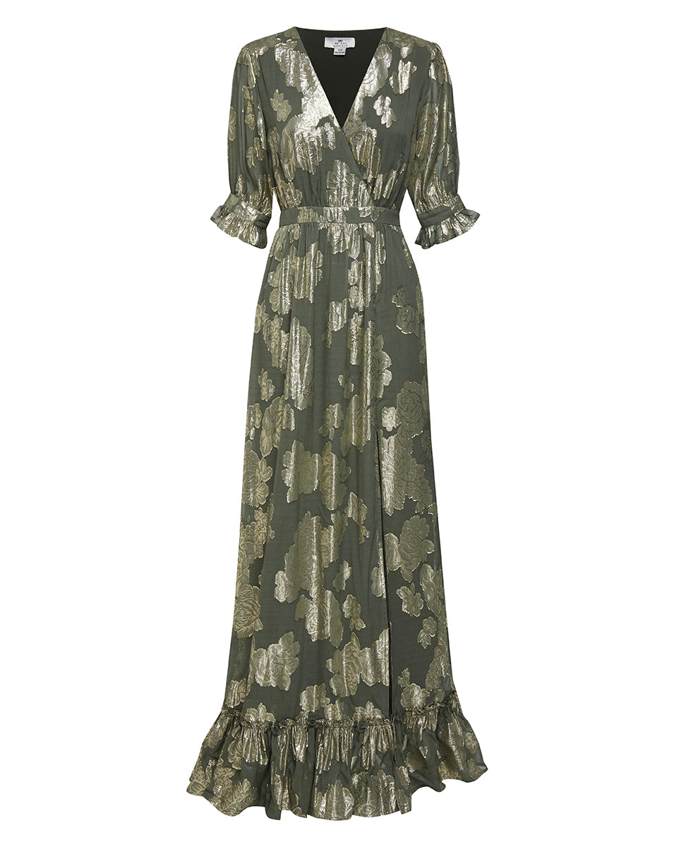 ADELE LUREX MAXI DRESS IN OLIVE ROSE