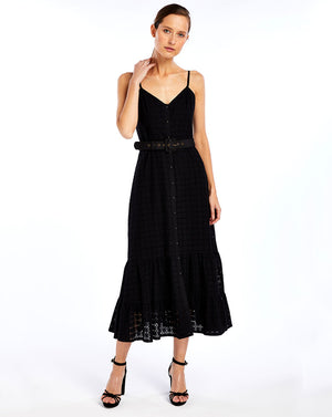 SOOKIE MIDI DRESS - BROIDERIE BLACK