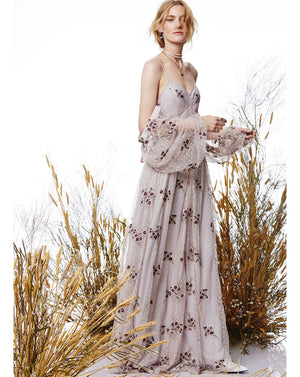 MARYJANE CAGED MAXI DRESS - LILAC MIST