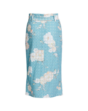 LULU PENCIL SKIRT IN TEAL POSEY