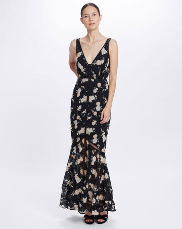 MIA MAXI DRESS - BLACK CAMELLIA