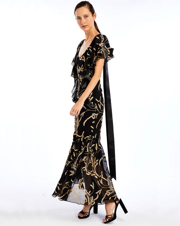 ANABELLA MAXI DRESS - BLACK GOLD