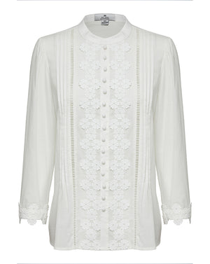 BEATRIX COTTON BLOUSE IN IVORY DAISY