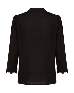 BEATRIX COTTON BLOUSE IN BLACK DAISY