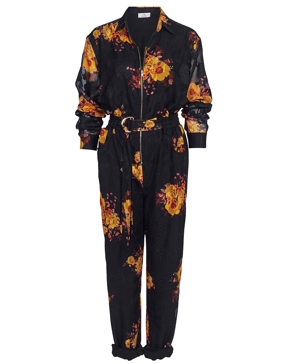 IBIZA BOILERSUIT IN NOIR SUNFLOWERS