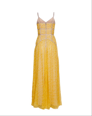 AURORA CAGED MAXI DRESS - SUNFLOWER