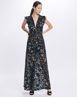 AMBROSIA FRILL SLEEVE JUMPSUIT IN BLACK BLOOMS