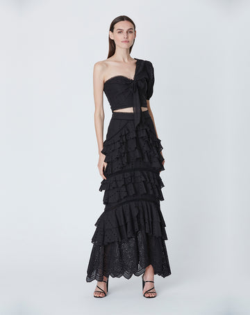 LOLA RUFFLE MAXI SKIRT IN BLACK