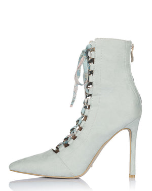 COLETTE LACE UP BOOTIES IN DUSTY SAGE