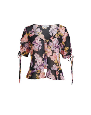 STEVIE SWEETHEART BLOUSE IN BLACK BLOSSOMS