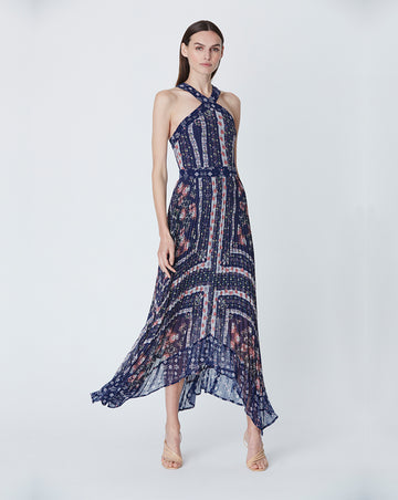 ALICE PLEATED MIDI DRESS IN SCARF