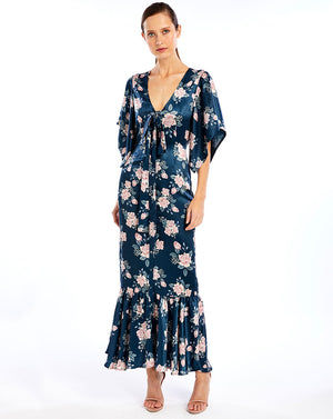 FRENCHIE TIE FRONT MAXI DRESS - INK ROSE
