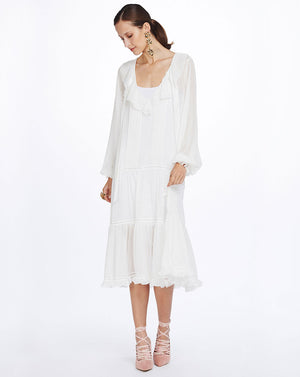 ELODIE PINTUCK MIDI DRESS - SNOW