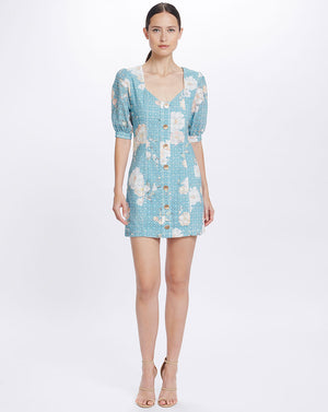 LULU SWEETHEART MINI DRESS IN TEAL POSEY