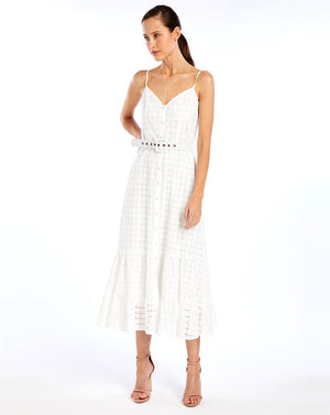 SOOKIE MIDI DRESS IN BROIDERIE WHITE