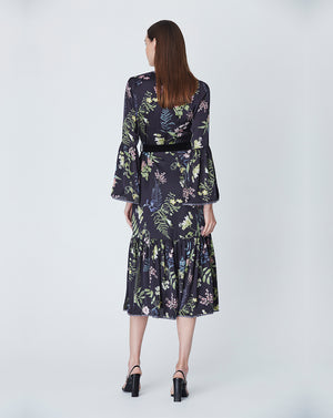 ELOISE BUTTON THROUGH DRESS IN BLACK DELPHINIUM