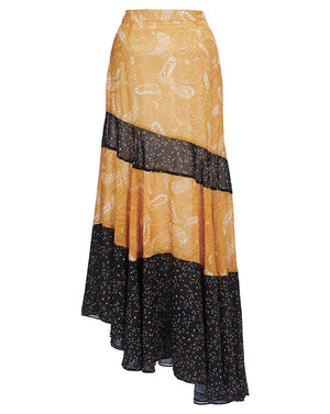 AMALFI ASYMMETRIC SKIRT IN SPLICED SUNFLOWER